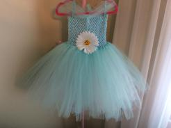Tutu dress in turquoise with white underlay